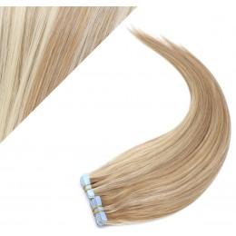 Vlasy pre metódu Pu Extension / Tapex / Tape Hair / Tape IN 50cm - svetlý melír