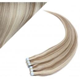 Vlasy pre metódu Pu Extension / Tapex / Tape Hair / Tape IN 50cm - platina / svetlo hnedá