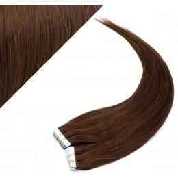 Vlasy pre metódu Pu Extension / Tapex / Tape Hair / Tape IN 60cm - stredne hnedé