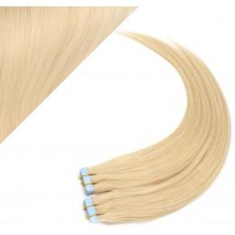 Vlasy pre metódu Pu Extension / Tapex / Tape Hair / Tape IN 60cm - najsvetlejšia blond