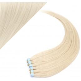 Vlasy pre metódu Pu Extension / Tapex / Tape Hair / Tape IN 60cm - platinová blond