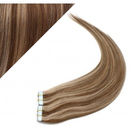 Vlasy pre metódu Pu Extension / Tapex / Tape Hair / Tape IN 60cm - tmavý melír