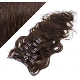 Clip in vlnité vlasy pravé ľudské REMY 53cm - tmavo hnedá