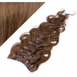 Clip in vlnité vlasy pravé ľudské REMY 53cm - stredne hnedá