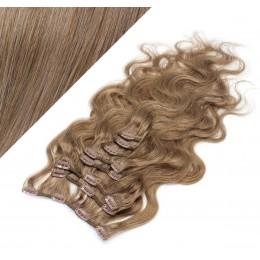 Clip in vlnité vlasy pravé ľudské REMY 53cm - svetlo hnedá