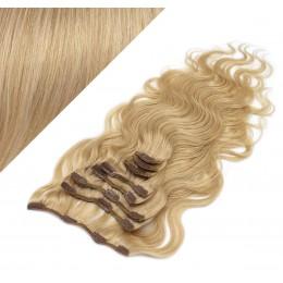 Clip in vlnité vlasy pravé ľudské REMY 53 cm - prírodná blond