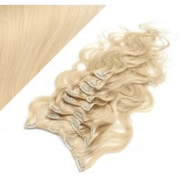 Clip in vlnité vlasy pravé ľudské REMY 53 cm - najsvetlejšia blond