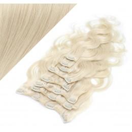 Clip in vlnité vlasy pravé ľudské REMY 53 cm - platina