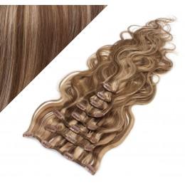 Clip in vlnité vlasy pravé ľudské REMY 53 cm - tmavý melír