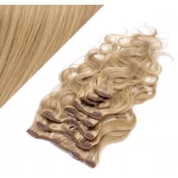 Clip in vlnité vlasy pravé ľudské REMY 53 cm - prírodná/svetlejšia blond