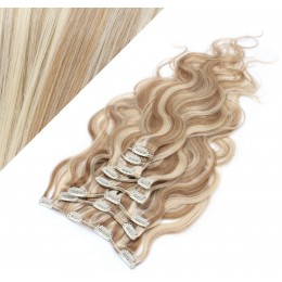 Clip in vlnité vlasy pravé ľudské REMY 53 cm - svetlý melír