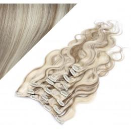 Clip in vlnité vlasy pravé ľudské REMY 53 cm - platina/svetlo hnedá