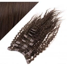 Clip in kučeravé vlasy 100% ľudské REMY 53cm - tmavo hnedá