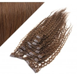 Clip in kučeravé vlasy 100% ľudské REMY 53cm - stredne hnedá