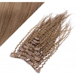 Clip in kučeravé vlasy 100% ľudské REMY 53cm - svetlo hnedá