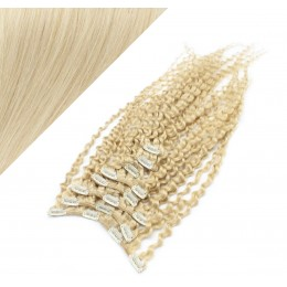 Clip in kučeravé vlasy 100% ľudské REMY 53 cm - platina