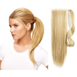"Clip in ponytail wrap / braid hair extension 24"" straight - the lightest blonde"