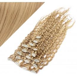 Clip in kučeravé vlasy 100% ľudské REMY 53 cm - prírodná/svetlejšia blond