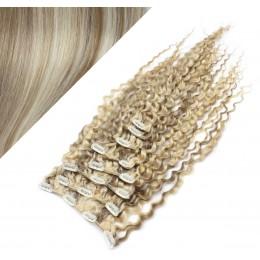 Clip in kučeravé vlasy 100% ľudské REMY 53 cm - platina/svetlo hnedá