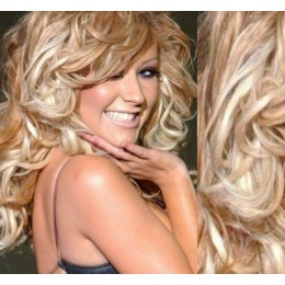 """20"""" (50cm) Clip in curly human REMY hair - platinum / light brown"""
