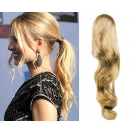 "Clip in ponytail wrap / braid hair extension 24"" wavy – natural blonde"