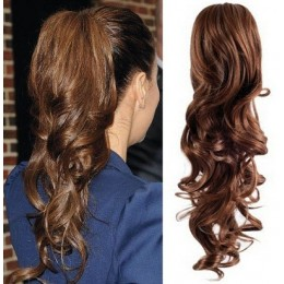 "Clip in ponytail wrap / braid hair extension 24"" curly – medium brown"