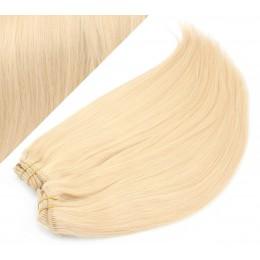 Clip in maxi set 43cm pravé ľudské vlasy - REMY 140g - NAJSVETLEJŠIA BLOND