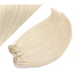 Clip in maxi set 43cm pravé ľudské vlasy - REMY 140g - PLATINA