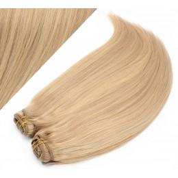 Clip in maxi set 43cm pravé ľudské vlasy - REMY 140g - PRÍRODNÁ / SVETLEJŠIA BLOND