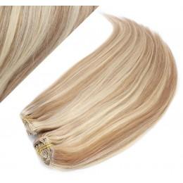 Clip in maxi set 43cm pravé ľudské vlasy - REMY 140g - SVETLÝ MELÍR