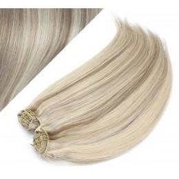 Clip in maxi set 43cm pravé ľudské vlasy - REMY 140g - PLATINA / SVETLO HNEDÁ