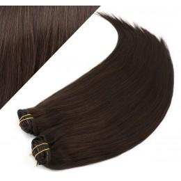 Clip in maxi set 53cm pravé ľudské vlasy - REMY 200g - TMAVO HNEDÁ
