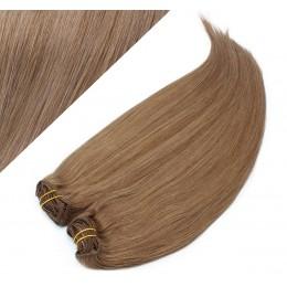 Clip in maxi set 53 cm pravé ľudské vlasy - REMY 200g - SVETLO HNEDÁ