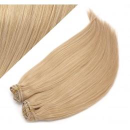 Clip in maxi set 53 cm pravé ľudské vlasy - REMY 200g - PRÍRODNÁ BLOND