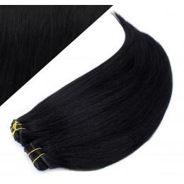 Clip in maxi set 63cm pravé ľudské vlasy - REMY 240g - ČIERNA