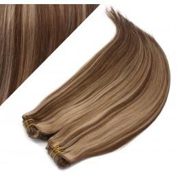 Clip in maxi set 63cm pravé ľudské vlasy - REMY 240g - TMAVÝ MELÍR