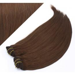 Clip in maxi set 73 cm pravé ľudské vlasy - REMY 280g - STREDNE HNEDÁ