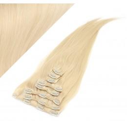 Clip in vlasy 43cm 100% ľudské - REMY 70g - najsvetlejšia blond