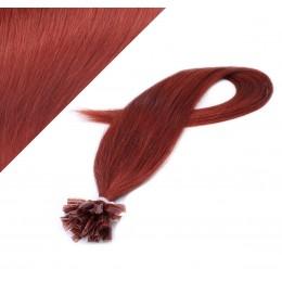 Vlasy európskeho typu na predlžovanie keratínom 40cm - medená