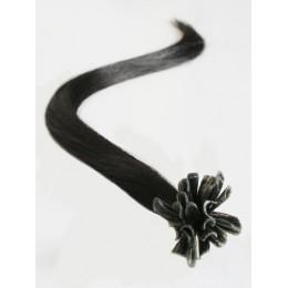 "24"" (60cm) Nail tip / U tip human hair pre bonded extensions – natural black"