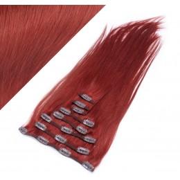 Clip in vlasy 43cm 100% ľudské - REMY 70g - medená