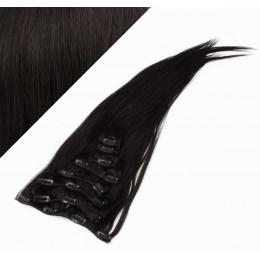 Clip in vlasy 53cm 100% ľudské - REMY 100g - PRÍRODNÁ ČIERNA
