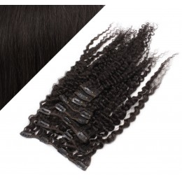 Clip in kučeravé vlasy 100% ľudské REMY 53cm - prírodná čierna