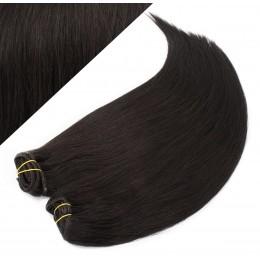 Clip in maxi set 43cm pravé ľudské vlasy - REMY 140g - PRÍRODNÁ ČIERNA