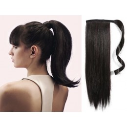 "Clip in human hair ponytail wrap hair extension 20"" straight - natural black"