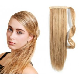 "Clip in human hair ponytail wrap hair extension 20"" straight - light blonde/natural blonde"
