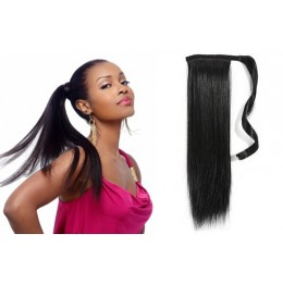 "Clip in human hair ponytail wrap hair extension 24"" straight - black"
