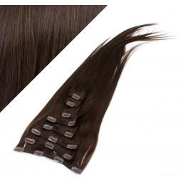 Clip in vlasy 53cm 100% ľudské - REMY 100g - TMAVO HNEDÁ