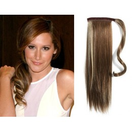 "Clip in human hair ponytail wrap hair extension 24"" straight - dark brown/blonde"