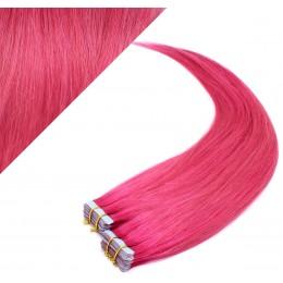 Vlasy pre metódu Pu Extension / Tapex / Tape Hair / Tape IN 60cm - ružová